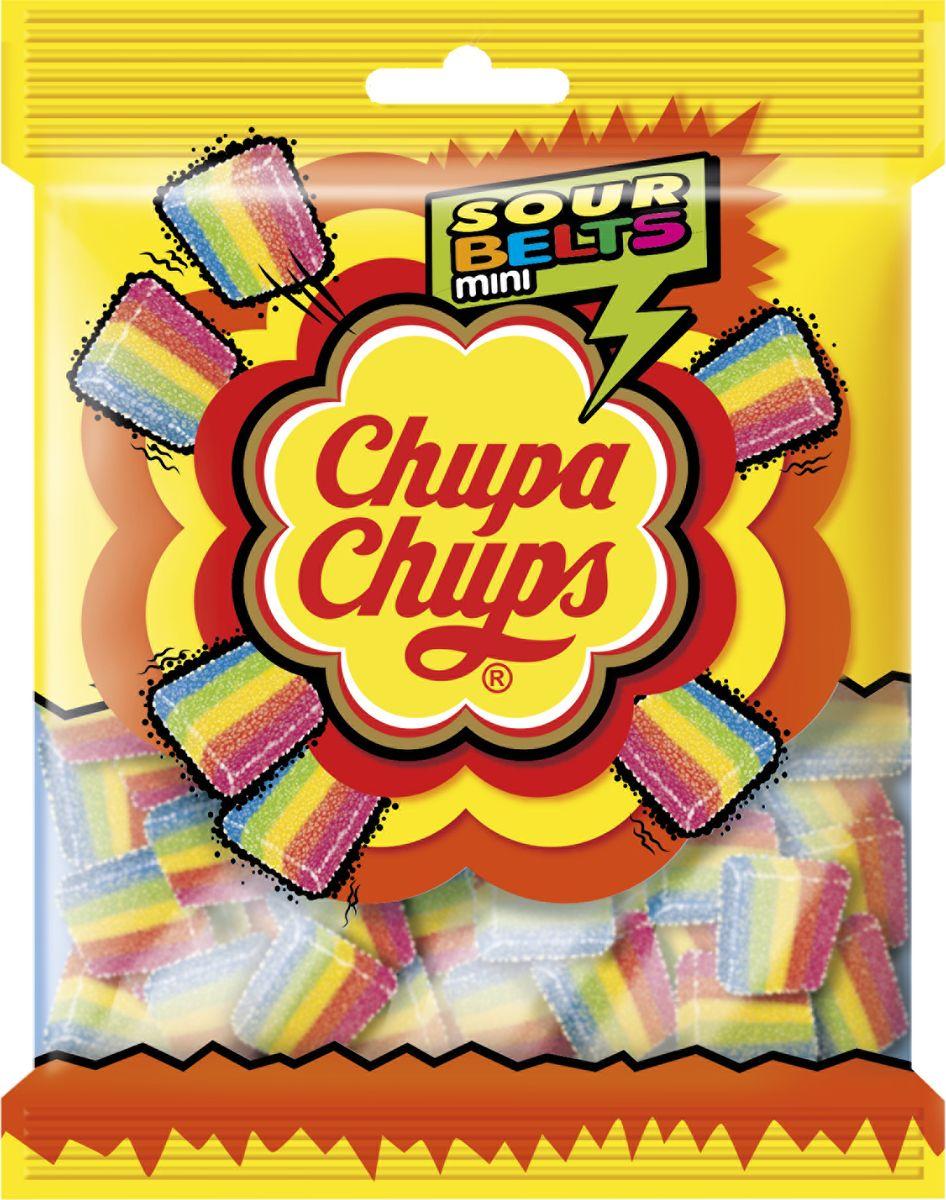 Chupa chups Sour belts mini жевательный мармелад, 150 г жевательный мармелад chupa chups мармеладная пицца