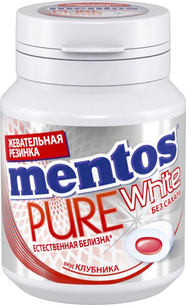Mentos Pure White клубника жевательная резинка, 54 г8253366Сочная жевательная резинка с жидким центром внутри и экстрактом белого чая, в удобном формате банки.