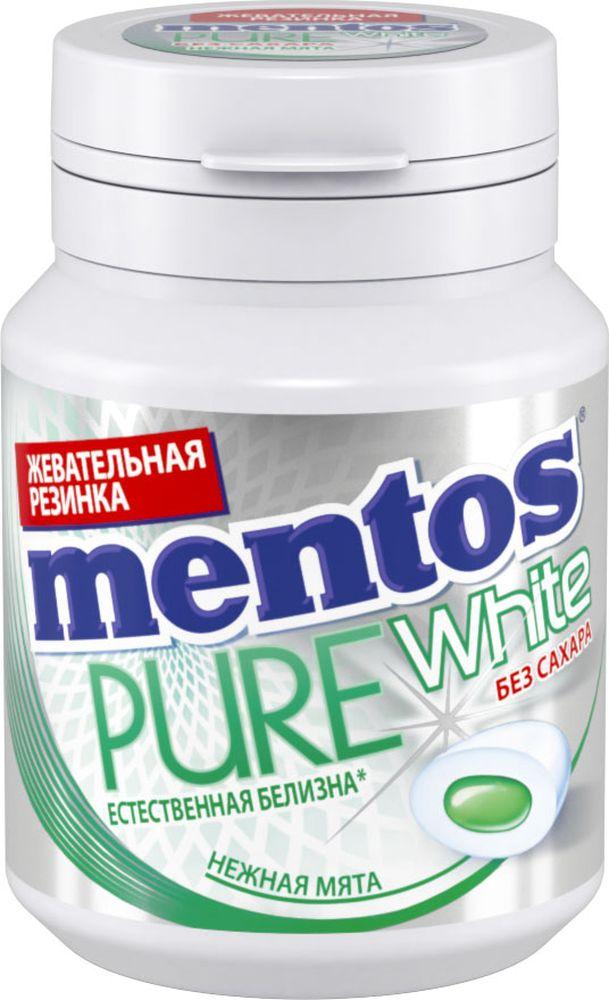 Mentos Pure White нежная мята жевательная резинка, 54 г8253367Сочная жевательная резинка с жидким центром внутри и экстрактом белого чая, в удобном формате банки.