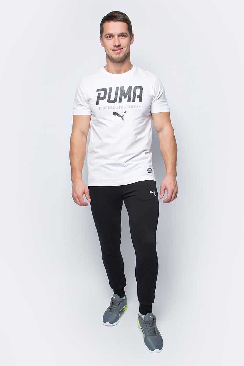 Брюки спортивные мужские Puma ESS Sweat Pants Slim, Fl, цвет: черный. 83826601. Размер XL (50/52)83826601Спортивные брюки Puma ESS Sweat Pants Slim, Fl выполнены из мягкого трикотажа, флисовая внутренняя отделка. Модель декорирована вышитым логотипом Puma. Среди других отличительных особенностей изделия - пояс из его основного материала с продернутым затягивающимся шнуром, карманы в швах, нашитая сверху задняя кокетка для лучшей посадки в обтяжку по фигуре, а также отделка манжет по низу штанин трикотажем в резинку.
