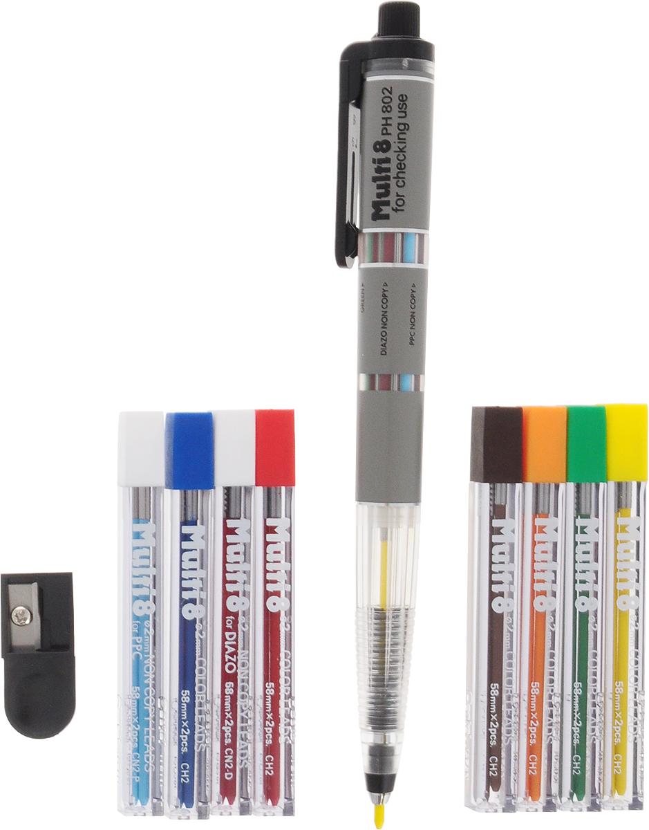 Pentel Канцелярский набор Multi 8PH802STНабор Pentel Multi 8 включает в себя многофункциональный автоматический карандаш, 8 наборов цветных грифелей, точилку. Набор поставляется в пластиковом футляре, на поролоновой подложке размещены пеналы с запасными грифелями, карандаш и точилка. Всего в комплекте 8 пеналов по два грифеля в каждом. В комплект вложена инструкция на японском и английском языке.Механический карандаш Multi 8 вмещает 8 грифелей разных цветов диаметром 2 мм: оранжевый, желтый, зеленый, красный, синий, голубой, коричневый, бордовый. Каждый грифель оснащен металлическим кольцом для защиты от ломкости.Для удобства смены грифелей на корпусе имеется прозрачное окошко и текстовая маркировка на английском языке:Red - Красный грифельGreen - Зеленый грифельOrange - Оранжевый грифельBrown - Коричневый грифельYelow - Желтый грифельBlue - Синий грифельPPC NON COPY - Голубой грифель с защитой от ксерокопированияDIAZO NON COPY - Бордовый грифель с защитой от диазокопирования. Голубой (PPC non copy) и бордовый (Diazo non copy) грифели имеют защиту от копирования.Diazo non copy (бордовый грифель) защищает записи при диазокопировании (диазотипное светокопирование) — способ копирования документовна основе диазотипии — применяется главным образом для копирования чертежно-конструкторской документации. Изменения, подчеркивания, пометки, внесенные в документацию таким карандашом, не будут заметны при диазокопировании.PPC non copy (голубой грифель) еще известен как карандаш редактора, так как применяется при письменном редактировании и правкедокументов, текстов перед печатью и не может быть обнаружен при ксерокопировании.