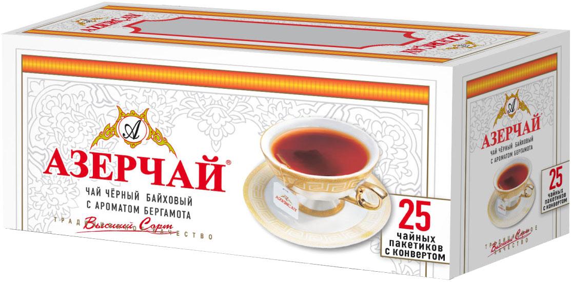 Азерчай чай черный с бергамотом в пакетиках сашетах, 25 шт4630006820355Чай черный с ароматом бергамота, пакетированный с конвертом. Способ приготовления: положить в чашку по одному пакетику на человека. Залить кипятком и настаивать 2-3 минуты.Всё о чае: сорта, факты, советы по выбору и употреблению. Статья OZON Гид