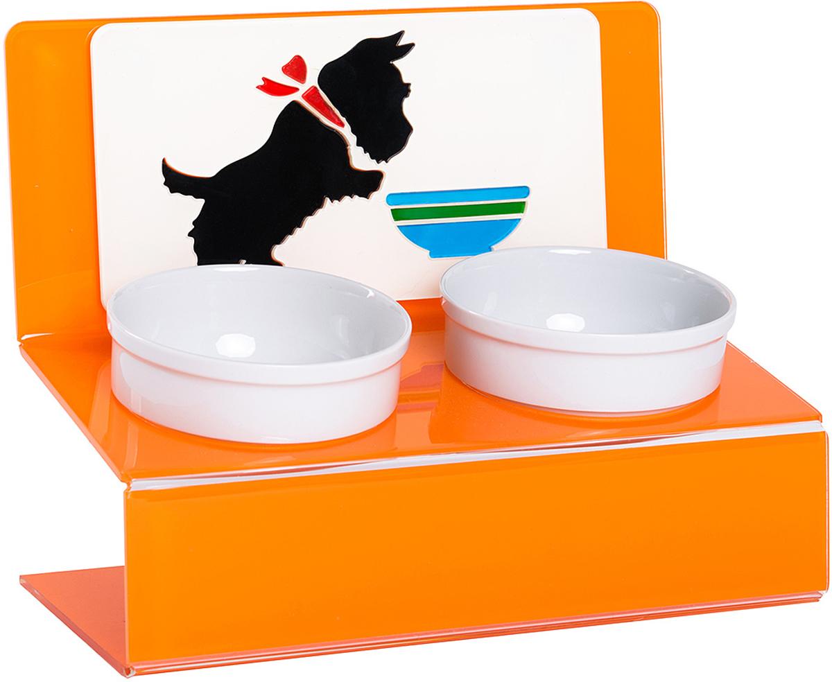 Миска для животных Artmiska  Щенок , двойная, на подставке, цвет: оранжевый, 2 х 350 мл - Аксессуары для кормления