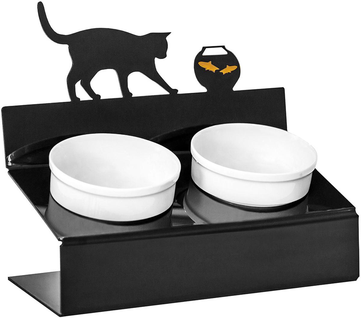 Миска для животных Artmiska  Кот и рыбы , двойная, на подставке, цвет: черный, 2 х 350 мл - Аксессуары для кормления