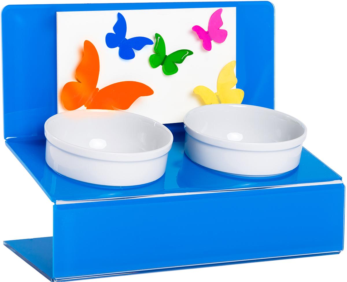 Миска для животных Artmiska Бабочки, двойная, на подставке, цвет: синий, 2 х 350 мл собачьи миски на подставке