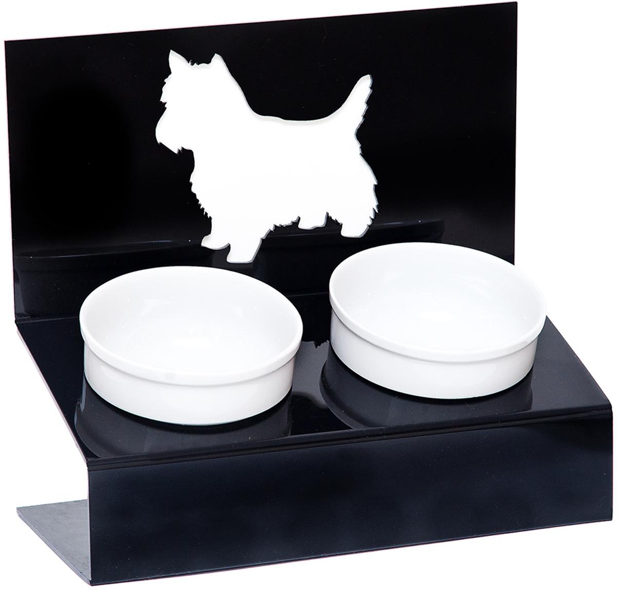 Миска для животных Artmiska  Любимая собачка , двойная, на подставке, цвет: черный, 2 х 350 мл - Аксессуары для кормления