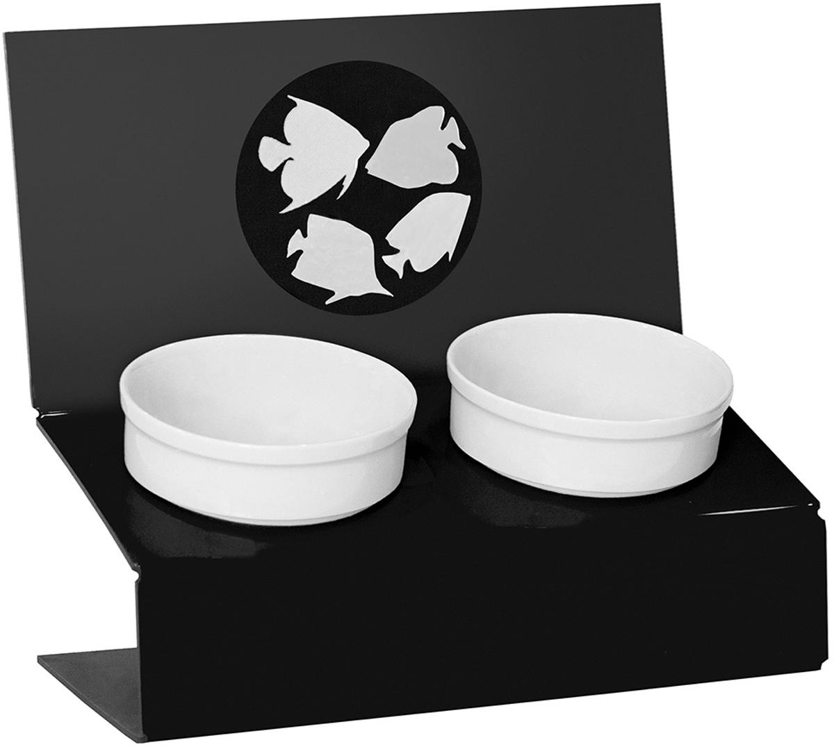 Миска для животных Artmiska  Инь и ян , двойная, на подставке, цвет: черный, 2 х 350 мл - Аксессуары для кормления