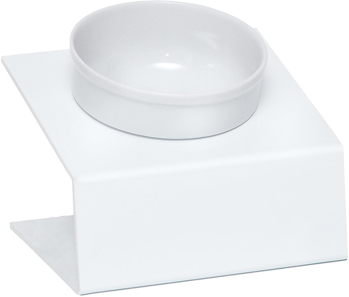 Миска для животных  Artmiska , одинарная, на подставке, цвет: белый, 350 мл