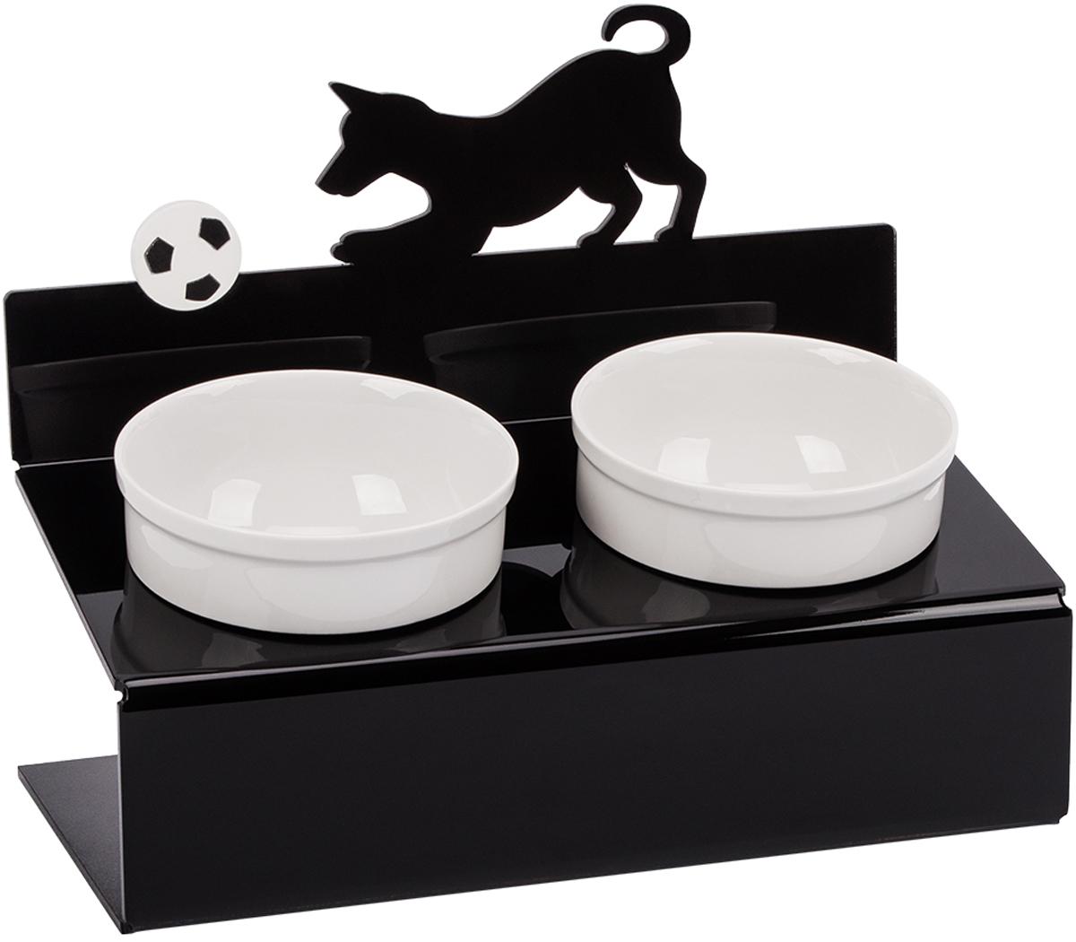 Миска для животныx Artmiska  Собака и мяч , двойная, на подставке, цвет: черный, 2 x 350 мл - Аксессуары для кормления