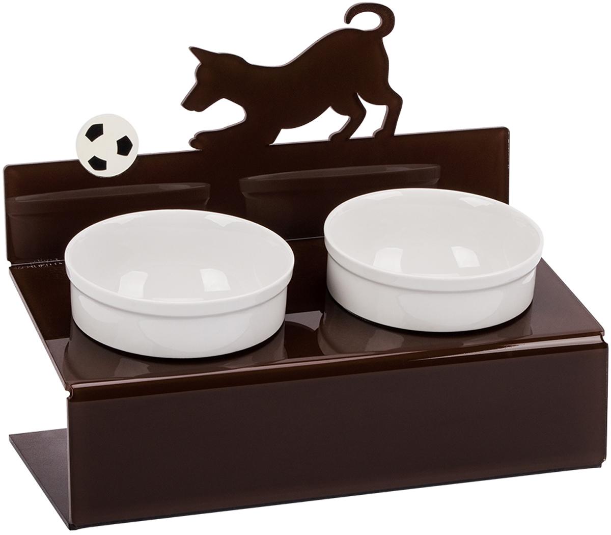 Миска для животныx Artmiska  Собака и мяч , двойная, на подставке, цвет: коричневый, 2 x 350 мл - Аксессуары для кормления