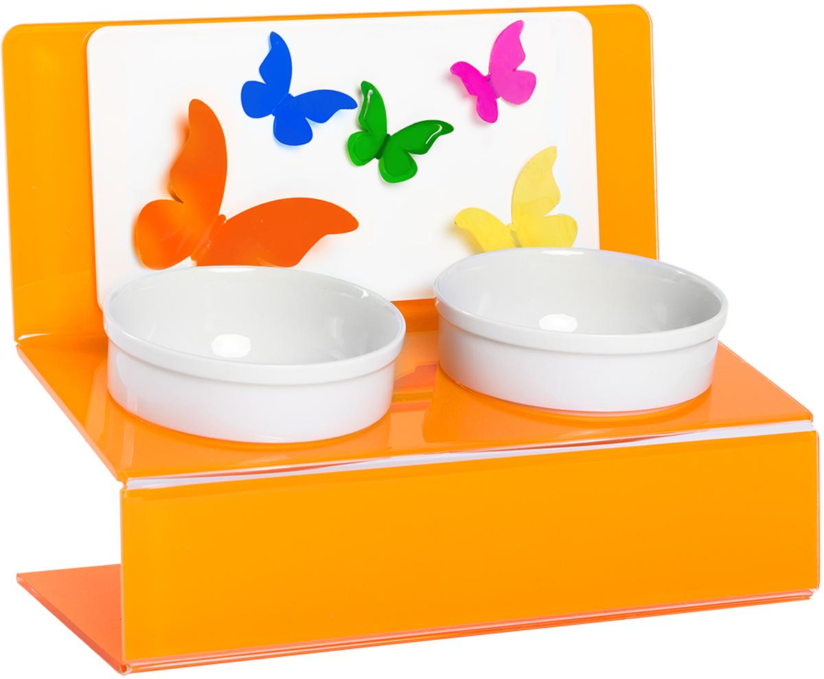 Миска для животныx Artmiska  Бабочки , двойная, на подставке, цвет: оранжевый, 2 x 350 мл - Аксессуары для кормления
