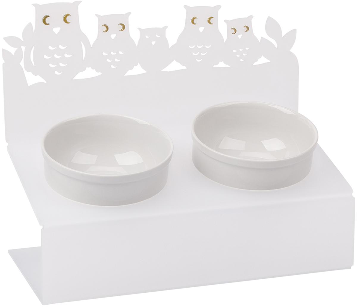 Миска для животныx Artmiska  Совы , двойная, на подставке, цвет: белый, 2 x 350 мл - Аксессуары для кормления