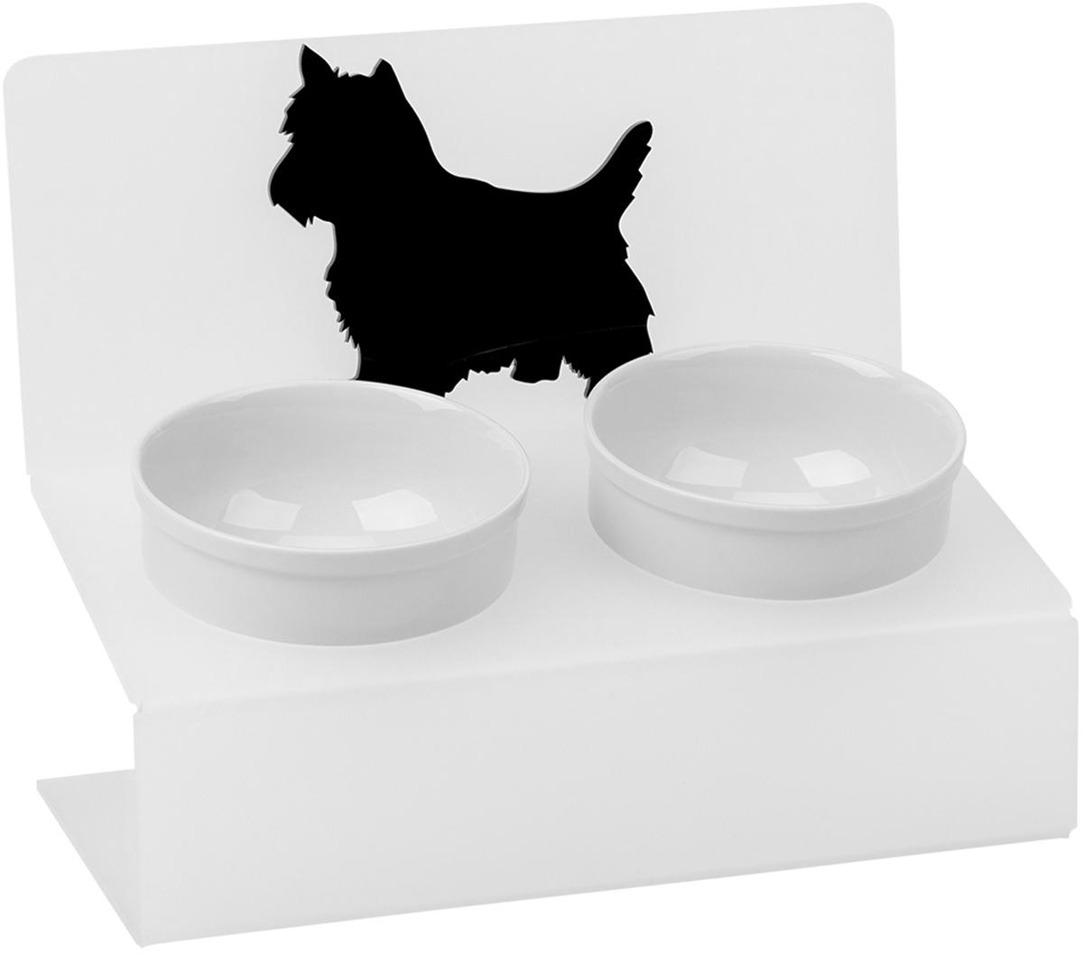 Миска для животныx Artmiska Любимая собачка, двойная, на подставке, цвет: белый, 2 x 350 мл собачьи миски на подставке