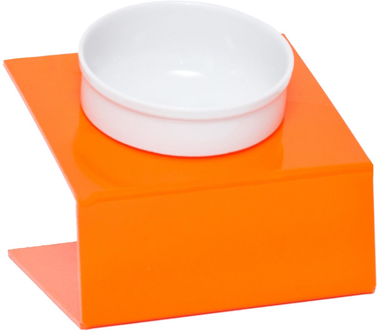 Миска для животныx Artmiska, одинарная, на подставке, цвет: оранжевый, 1 x 350 мл