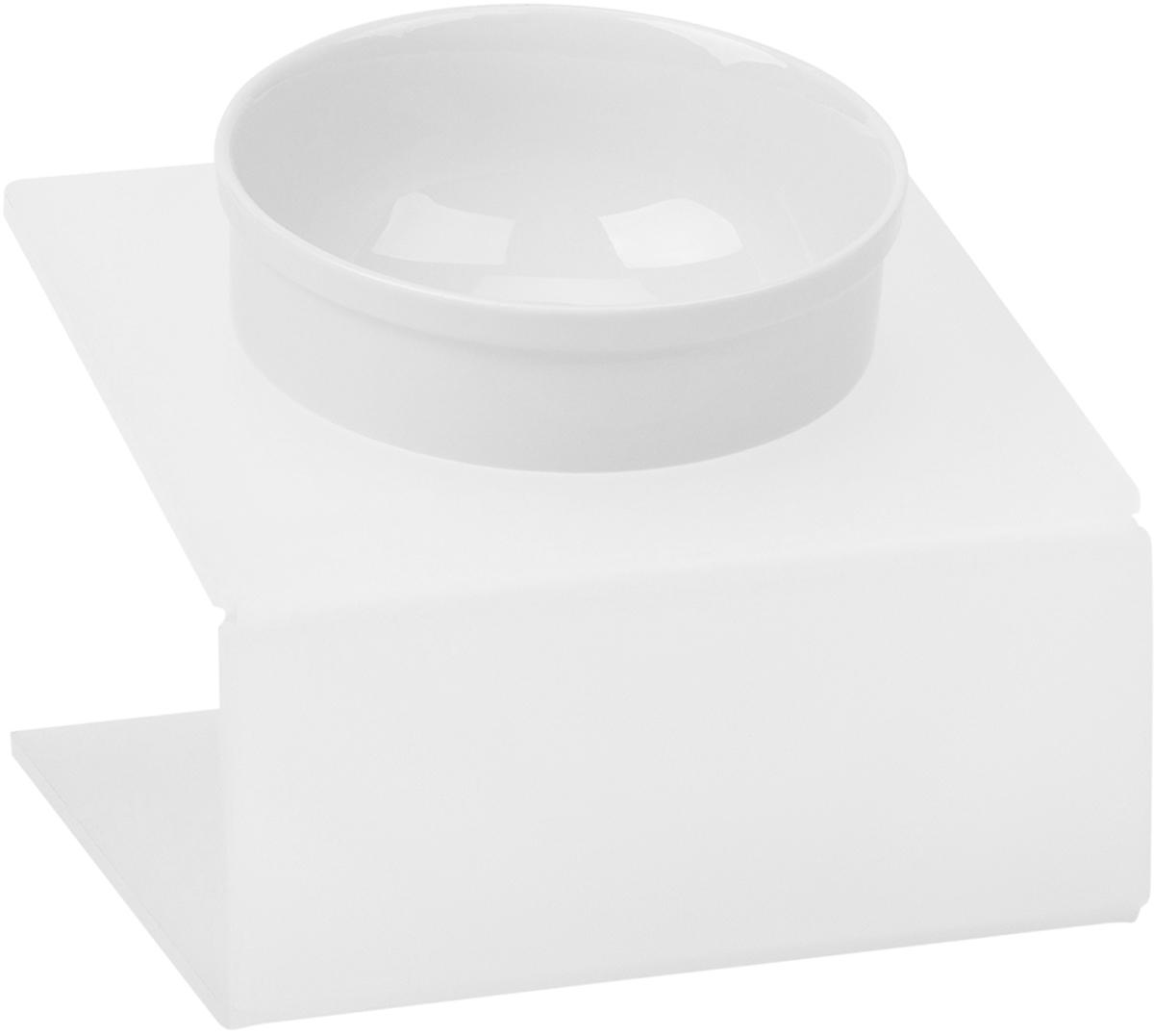 Миска для животныx  Artmiska , одинарная, на подставке, цвет: белый, 1 x 350 мл