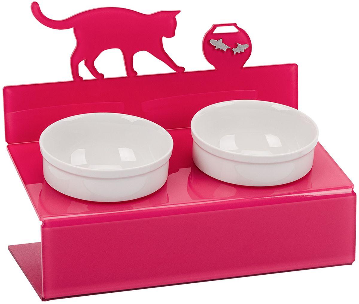 Миска для животныx Artmiska Кот и рыбы, двойная, на подставке, цвет: малиновый, 2 x 350 мл собачьи миски на подставке