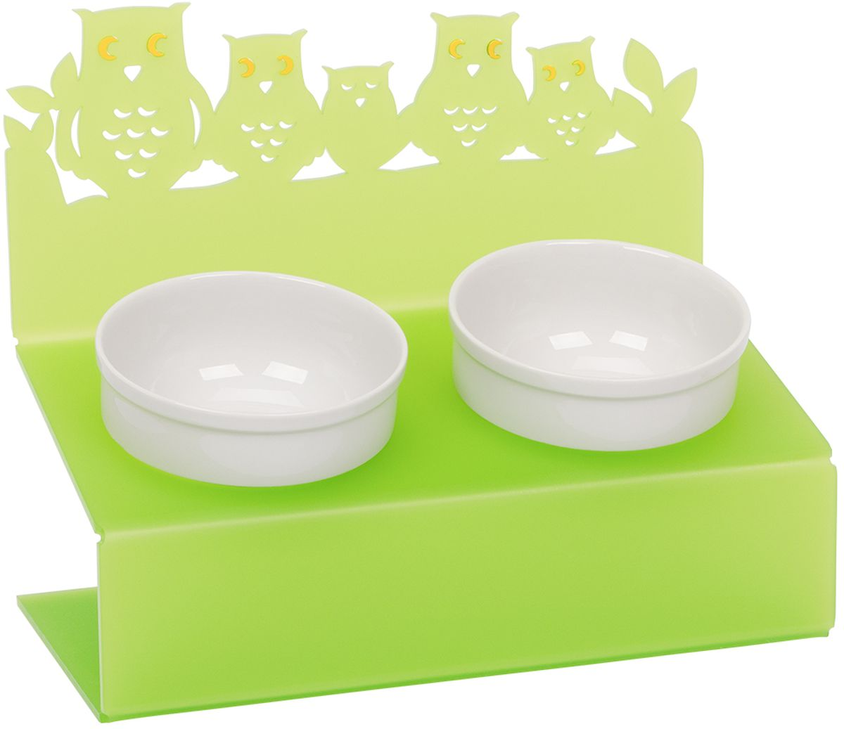 Миска для животныx Artmiska  Совы , двойная, на подставке, цвет: салатовый, 2 x 350 мл - Аксессуары для кормления