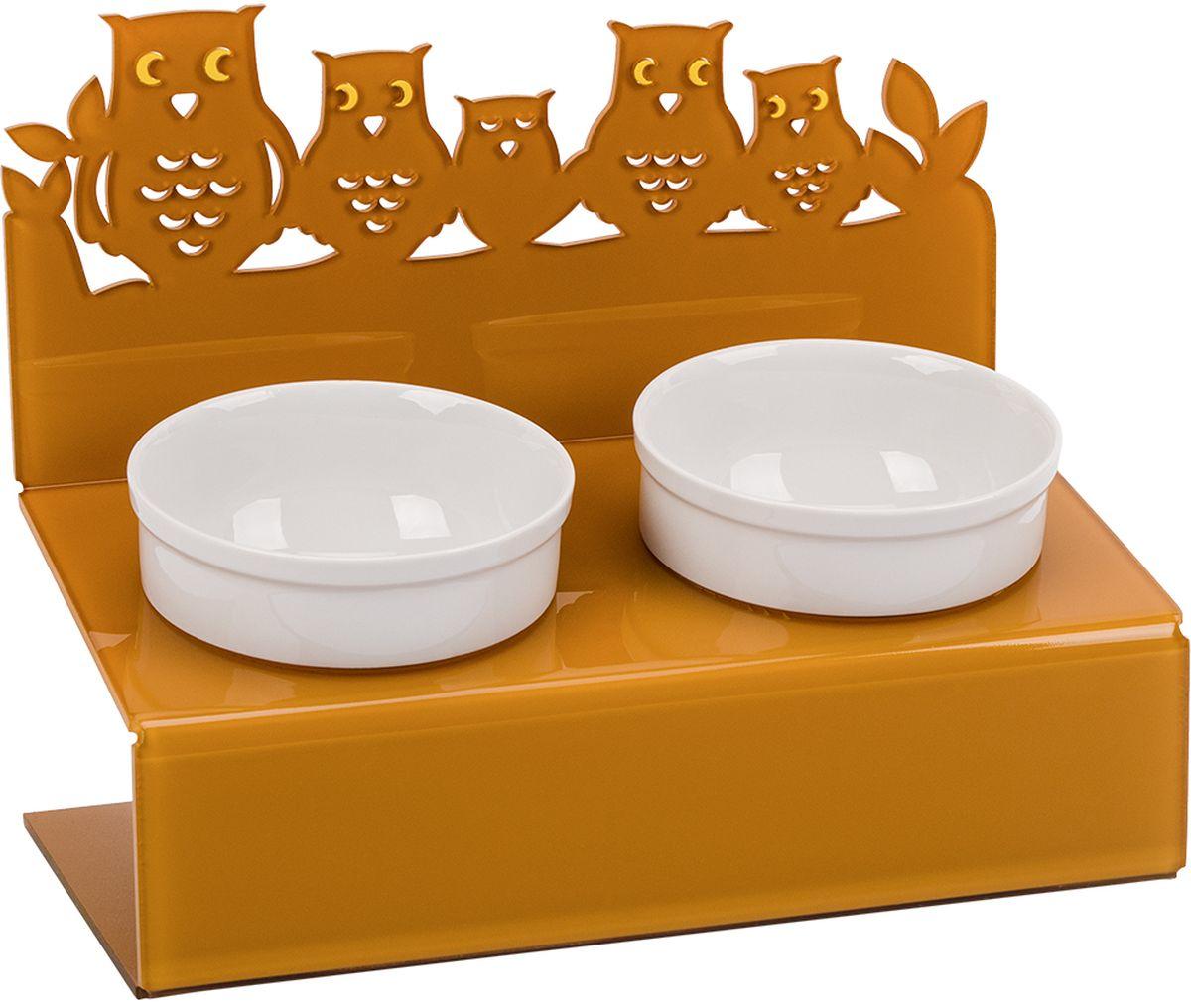 Миска для животныx Artmiska  Совы , двойная, на подставке, цвет: горчичный, 2 x 350 мл - Аксессуары для кормления