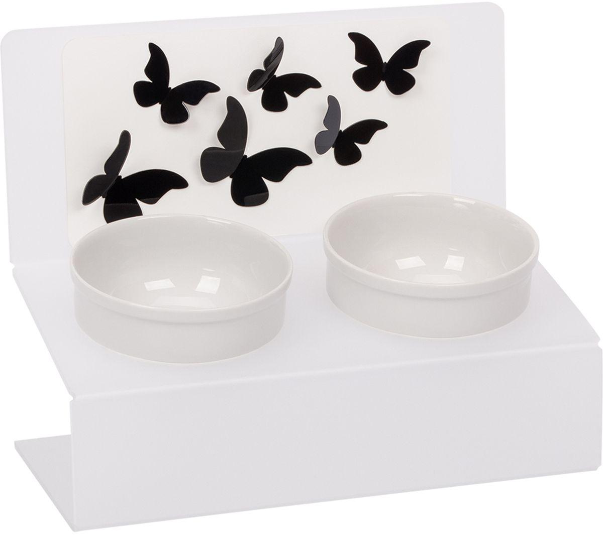 Миска для животныx Artmiska  Полет , двойная, на подставке, цвет: белый, полупрозрачный, 2 x 350 мл - Аксессуары для кормления