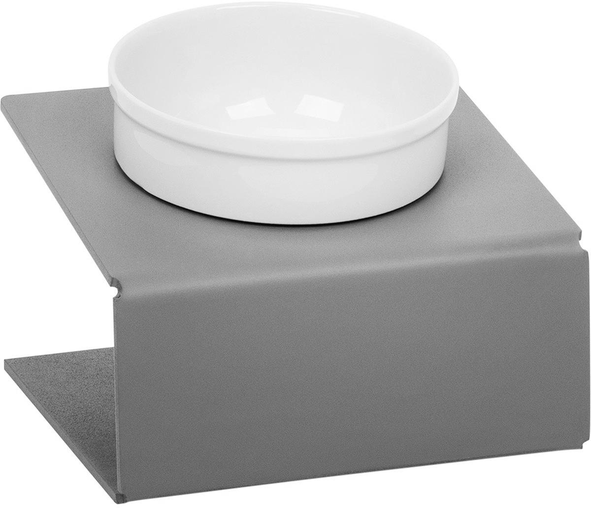 Миска для животныx  Artmiska , одинарная, на подставке, цвет: серый, 350 мл - Аксессуары для кормления