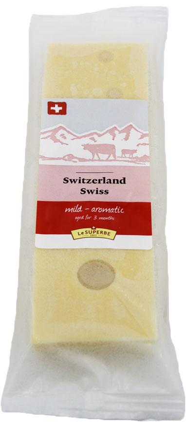 Le Superb Сыр Швейцарский, 180 гМС-00003343Классический сыр среди швейцарских сыров. Твердый сыр с сильным запахомпроизводится из непастеризованного молока и многочисленных ингредиентов.Прекрасно подходит для горячих и холодных блюд. Период созревания – 4месяца.