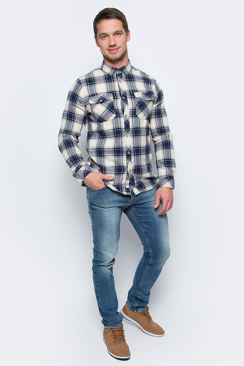 Рубашка мужская ONeill Lm Violator Flannel Shirt, цвет: бежевый, синий. 7P1306-1900. Размер S (46/48)7P1306-1900Фланелевая рубашка от ONeill выполнена и натурального хлопка. Модель с длинными рукавами, отложным воротником и нагрудными карманами застегивается на пуговицы.