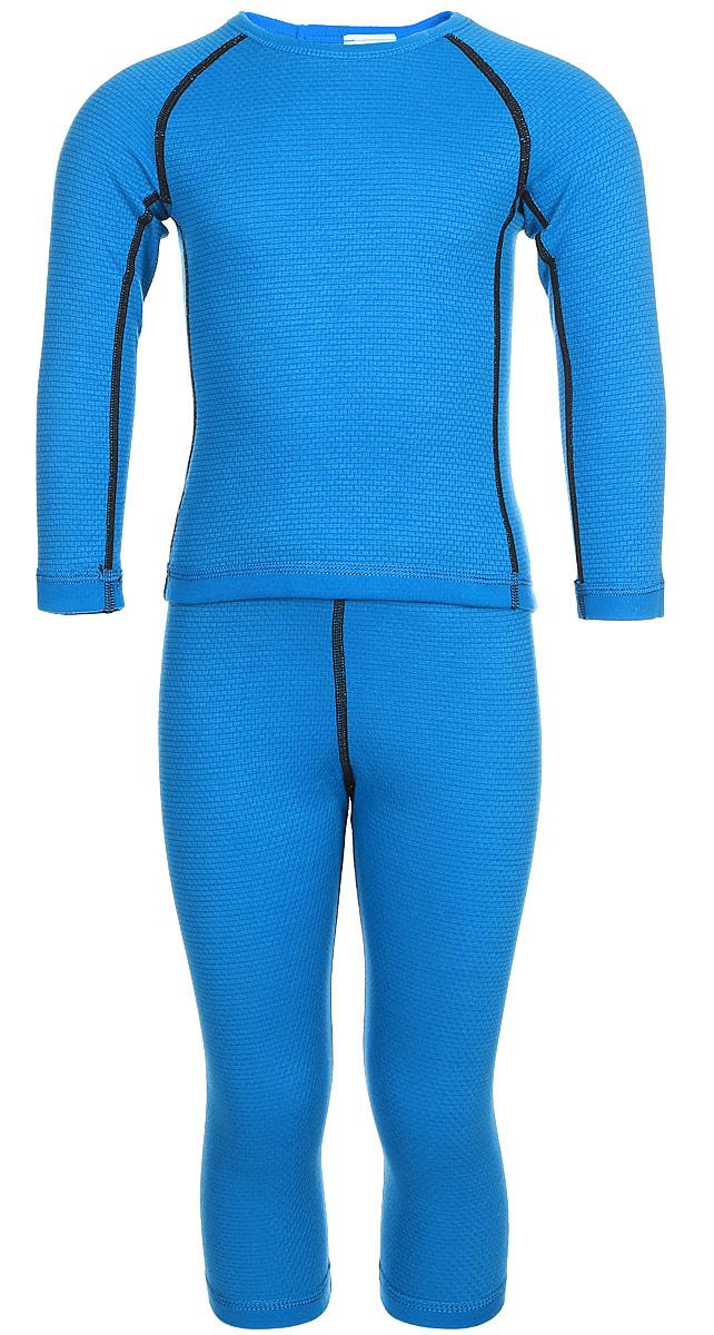 Комплект термобелья детский Reima Lani: лонгслив, брюки, цвет: синий. 5361836490. Размер 1405361836490Благодаря практичному детскому базовому комплекту, ваш ребенок может гулять и заниматься спортом в любую погоду. В этом комплекте ребенку будет сухо и тепло, ведь материал Thermolite, из которого он сшит, эффективно отводит влагу от кожи в верхний слой одежды. Комплект очень удобный и приятный на ощупь, а тонкие плоские швы в замок не натирают кожу. Удлиненная спинка хорошо закрывает и дополнительно защищает поясницу, а легкая эластичная резинка на манжетах удобно облегает запястья. Создайте идеальное сочетание – наденьте комплект с теплым флисовым промежуточным слоем и функциональной верхней одеждой!