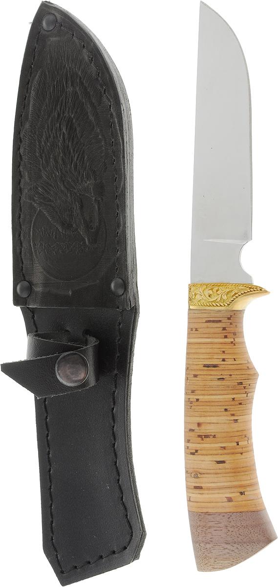 Нож туристический Ворсма Пластун, цвет: черный, бежевый, длина клинка 11,5 см1496238_черные ножны, волкНескладной нож Ворсма Пластун покорит своей эргономичностью даже настоящих ценителей. Клинок его изготовлен из нержавеющей стали, а ручка - из бересты, что делает вещь не только прочным и долговечным изделием, но и элементом декора. Он универсален: поможет вам в путешествии, походе, на рыбалке и в быту. В комплект входит чехол для переноски и хранения ножа.Характеристики:Общая длина: 23 см.Длина клинка: 11,5 см.Ширина клинка: 2,5 см.Толщина клинка: 2,3 мм.Длина рукояти: 11,5 см.Толщина рукояти: 2,1 см.