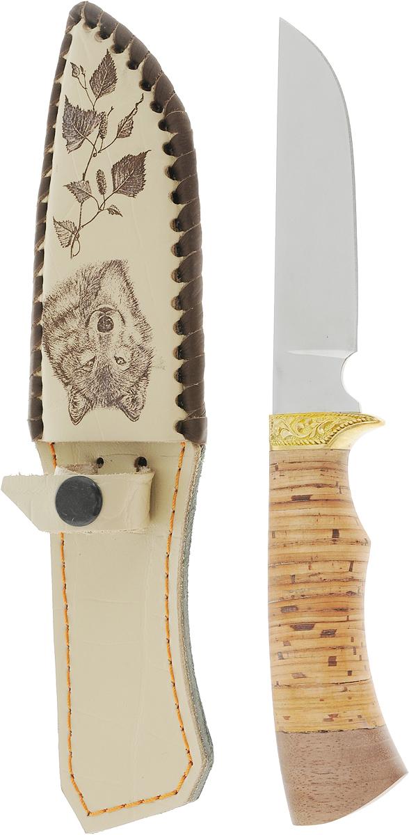 Нож туристический Ворсма Пластун, цвет: бежевый, длина лезвия 11,5 см1496238_бежевые ножны, волкНескладной нож Ворсма Пластун покорит своей эргономичностью даже настоящих ценителей. Клинок его изготовлен из нержавеющей стали, а ручка - из бересты, что делает вещь не только прочным и долговечным изделием, но и элементом декора. Он универсален: поможет вам в путешествии, походе, на рыбалке и в быту. В комплект входит чехол для переноски и хранения ножа.Характеристики:Общая длина: 23 см.Длина клинка: 11,5 см.Ширина клинка: 2,5 см.Толщина клинка: 2,3 мм.Длина рукояти: 11,5 см.Толщина рукояти: 2,1 см.