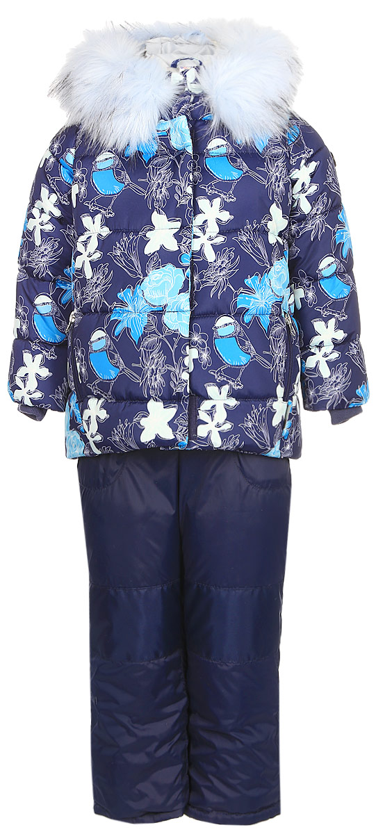 Комплект для девочки Boom!: куртка, полукомбинезон, цвет: темно-синий. 70465_BOG_вар.3. Размер 116, 5-6 лет70465_BOG_вар.3Теплый комплект для девочки Boom! идеально подойдет вашей дочурке в холодное время года. Комплект состоит из куртки и полукомбинезона, изготовленных из водоотталкивающей ткани с утеплителем из синтепона. Куртка на мягкой флисовой подкладке застегивается на пластиковую застежку-молнию. Курточка дополнена несъемным капюшоном, декорированным меховой опушкой на молнии. Дополнен капюшон скрытой резинкой со стопперами. Низ рукавов дополнен внутренними трикотажными манжетами, которые мягко обхватывают запястья.Полукомбинезон с грудкой застегивается на пластиковую застежку-молнию и имеет наплечные эластичные лямки, регулируемые по длине. На талии предусмотрена вшитая широкая эластичная резинка, которая позволяет надежно заправить рубашку, водолазку или свитер. По бокам предусмотрены два прорезных кармана. Снизу брючины дополнены внутренними манжетами с прорезиненными штрипками, препятствующими попаданию снега в обувь и не дающими брючинам ползти вверх. Комфортный, удобный и практичный комплект идеально подойдет для прогулок и игр на свежем воздухе!