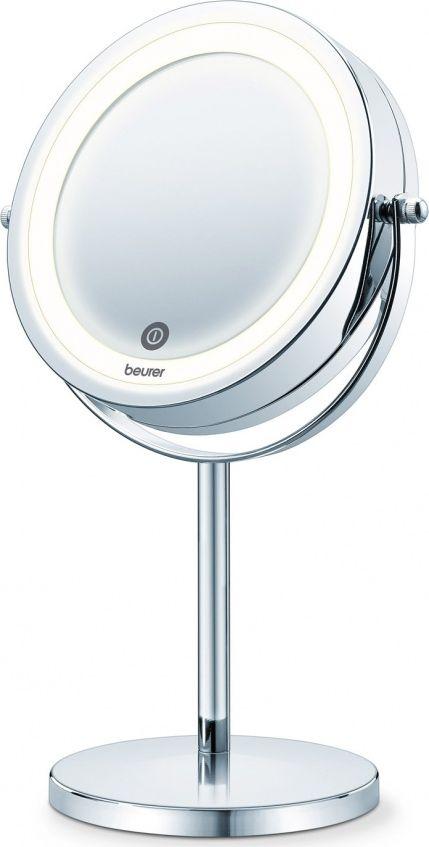 Beurer Зеркало BS55 косметическое3797Особенности: - Поворотное косметическое зеркало - Нормальное / 7-кратное увеличение - Функция плавной регулировки яркости - С сенсорной кнопкой - Яркая светодиодная подсветка - С высококачественым хромовым покрытием - зеркальной поверхности: 13 см - 3 Вт - Вкл. 4 батареи AAA 1,5 В Технические характеристики: Зеркало: Нормальное / 7-кратное увеличение Размеры диаметр зеркальной поверхности: 13 см Размеры изделия: 20,5 x 31,5 x 13,4 см (д x Ш x в)