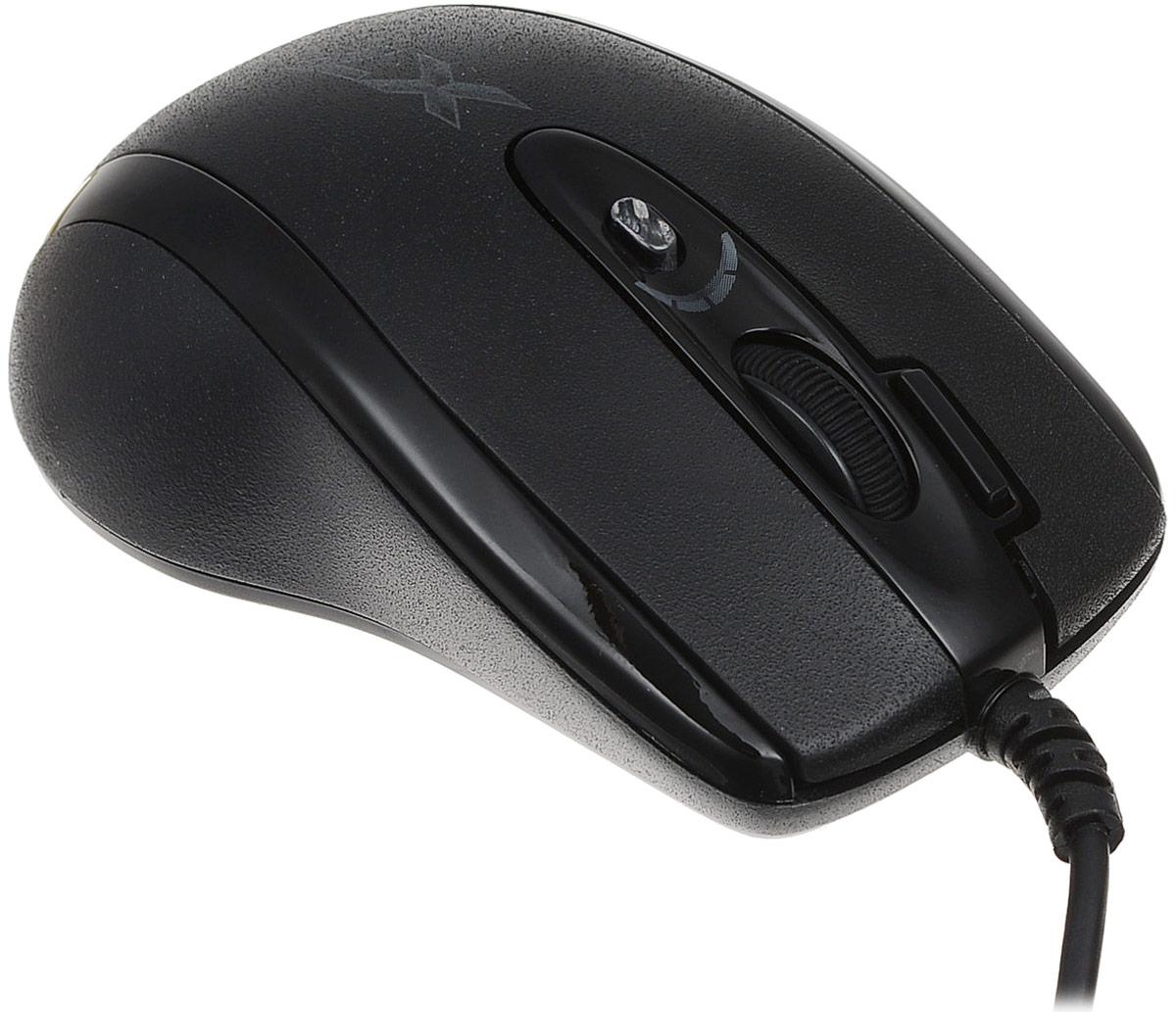 A4Tech X-710MK, Black мини-мышьX-710MKВ оптической мини-мыши A4Tech Х-710MK используется мощный и чувствительный сенсор Agilent. Она исключительно плавно движется при любых поворотах, реагируя на малейшие движения быстро и четко. Она идеально подходит для геймеров с маленькими ладонями. Благодаря удобной и эргономичной форме, мышь легко и надежно ложится в руку. По бокам сделаны прорезиненные вставки, что исключает выскальзывание мыши в самой напряженной игровой ситуации. Симметричный дизайн рассчитан как на правшей, так и на левшей.Шесть кнопок мыши программируются. Рядом с колесом прокрутки располагается уникальная кнопка Тройной клик, позволяющая сделать сразу три выстрела одним нажатием. Кнопка смены разрешения позволяет менять скорость курсора мыши без установки дополнительных драйверов. При смене режима колесо прокрутки подсвечивается разными цветами. Максимальное разрешение - 2000 dpi. При возвращении к повседневной работе за компьютером можно понизить его до 400 dpi. Независимо от игровой активности и частоты использования мыши, кнопки модели прослужат вам очень долго. Производитель, японская компания OMRON, гарантирует до 8 000 000 бесперебойных кликов.Новые игровые мыши A4Tech имеют встроенную память 16 Kб. Это значит, что теперь у вас есть уникальная возможность запрограммировать мышь выполнять любые игровые действия одним кликом! Создавайте свои скрипты и интегрируйте их во встроенную память вашей мыши. Играйте на любых компьютерах, сохранив ваши уникальные установки в памяти мыши. Для этого просто воспользуйтесь удобным и наглядным редактором скриптов Oscar, который вы найдете на прилагающемся диске.Используйте мышь вместо клавиатуры. Каждая кнопка мыши теперь может быть настроена так, чтобы воспроизводить любые команды клавиатуры, в любых сочетаниях клавиш. Вы сможете одним движением пальца купить все оружие или поставить задачу группе.Стреляйте длинными и короткими очередями. Выберите кнопку мыши и установите на нее количество выстрелов, которое вы хо