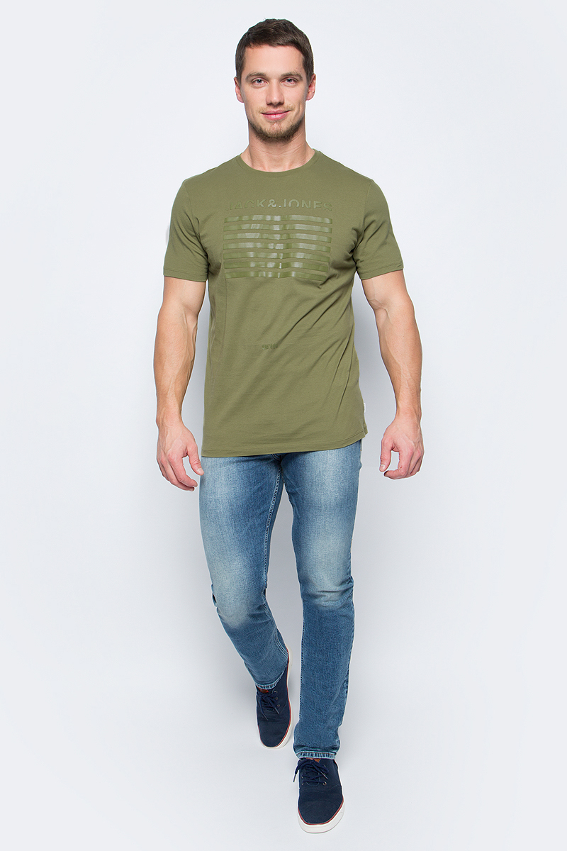 Футболка мужская Jack & Jones, цвет: зеленый. 12123098_Capulet Olive. Размер XL (52/54)12123098_Capulet Olive