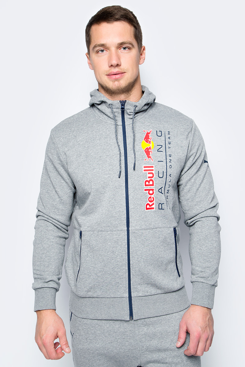 цена Толстовка мужская Puma RBR Hooded Sweat Jacket, цвет: серый. 57343802. Размер XL (50/52)