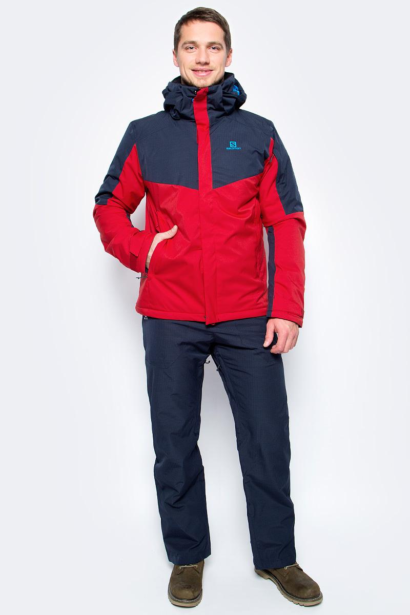 Куртка мужская Salomon Stormseeker Jkt M, цвет: красный, синий. L39787700. Размер S (44/46)L39787700Текстурированная ткань в елочку, мягкий твил и большие цветные блоки придают куртке Stormseeker Jkt молодежный вид, который прекрасно вписывается в стиль коллекции Storm. Тепло, универсальность и качество.