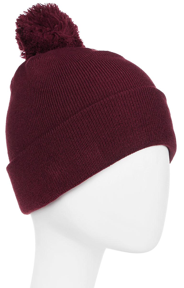 Шапка New Era Cuff Bobble, цвет: бордовый. 11448346-MAR. Размер универсальный11448346-MARТональная шапка с отворотом и помпоном. Вышитый логотип New Era размещён сбоку. Комфортная посадка благодаря тянущейся ткани.