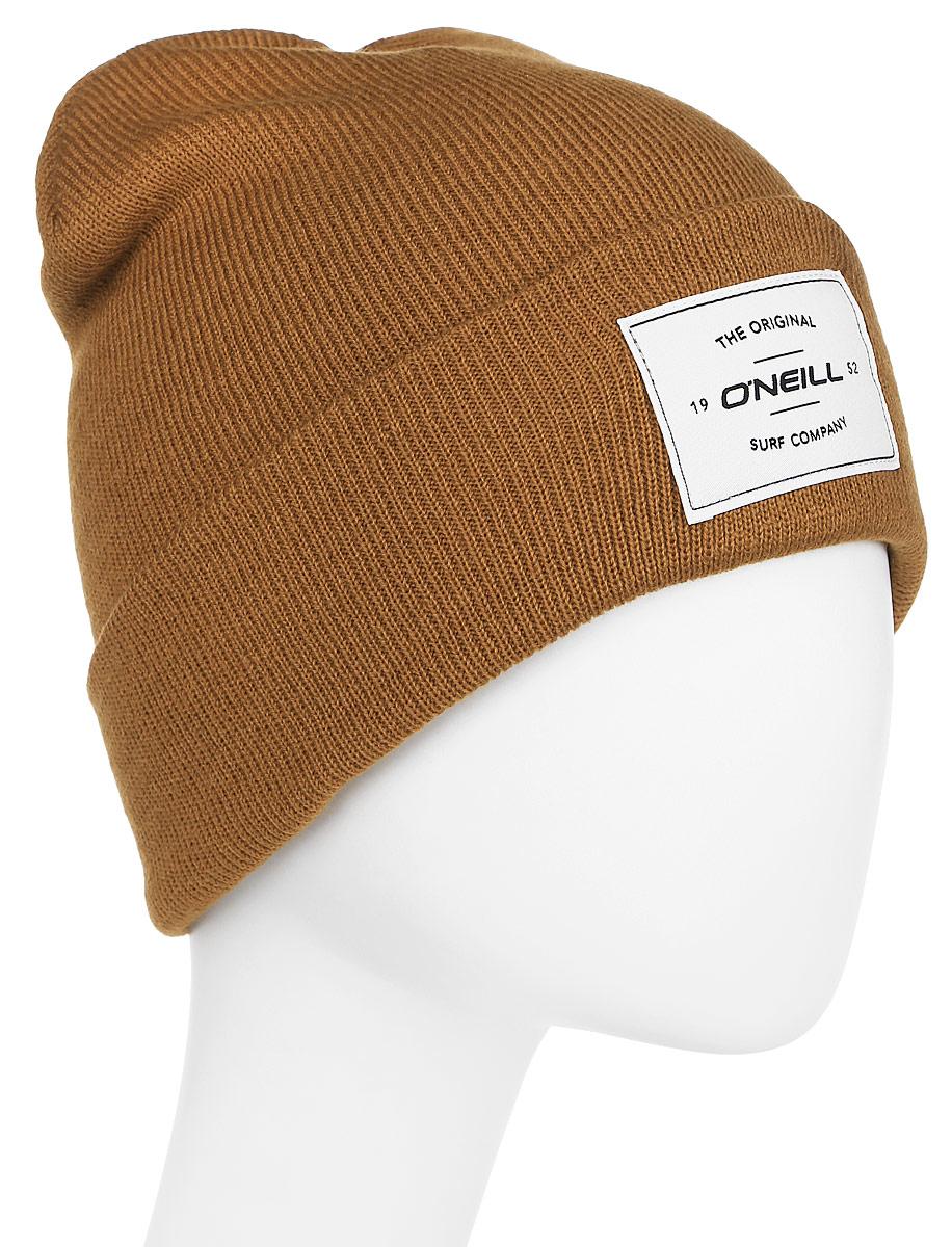Шапка мужская ONeill Bm Tmepiece Beanie, цвет: коричневый. 7P4114-3079. Размер универсальный7P4114-3079Мужская шапка от ONeill с отворотом выполнена из натуральной акриловой пряжи. Шапка на отвороте декорирована нашивкой.