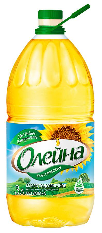 Олейна масло подсолнечное рафинированное дезодорированное, 3 л4011Масло подсолнечное рафинированное дезодорированное, вымороженное. Первый сорт.Масла для здорового питания: мнение диетолога. Статья OZON Гид