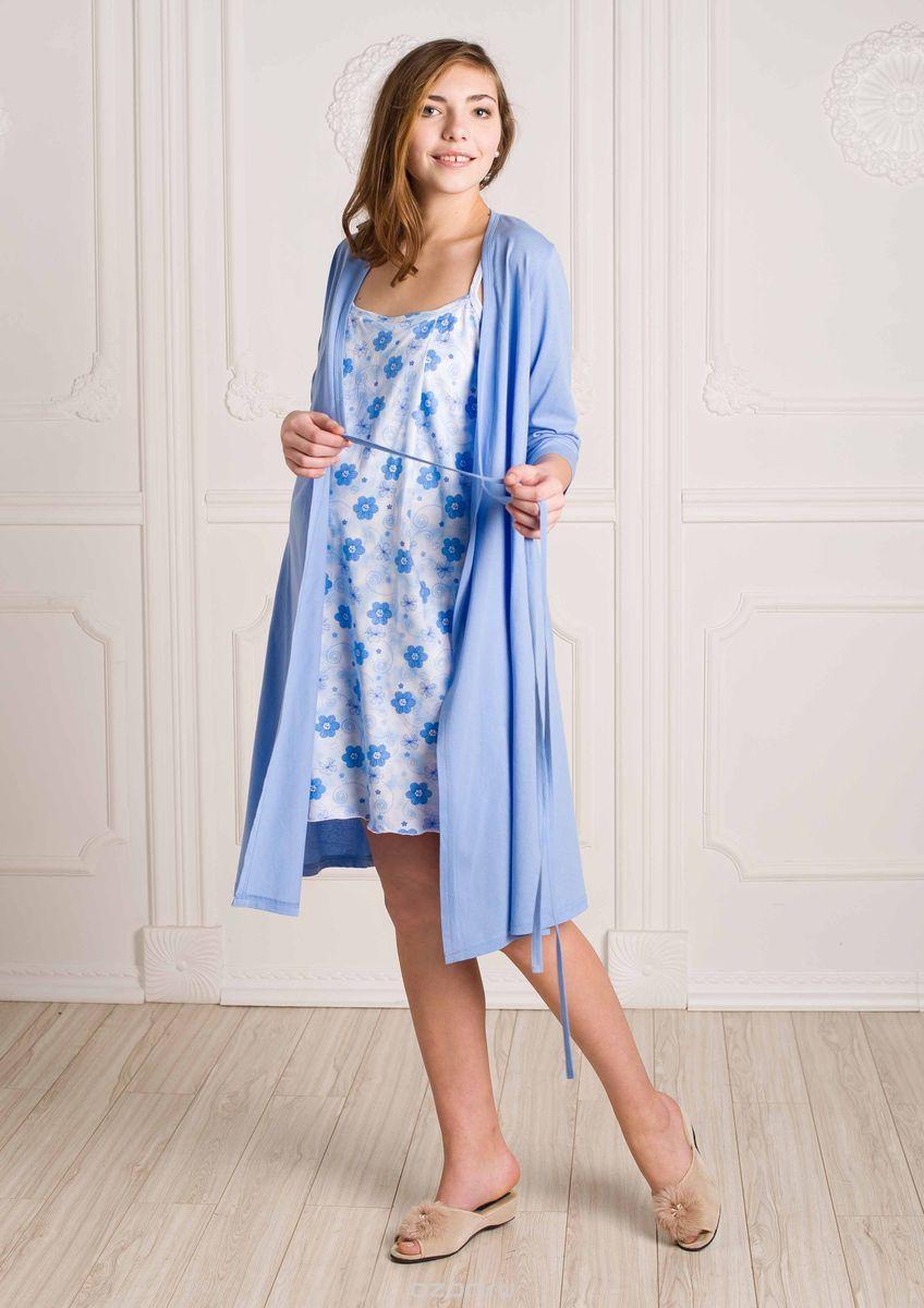 Стерильный комплект в роддом Hunny Mammy: халат, ночная сорочка, цвет: голубой, белый. КСР №1. Размер 56 комплект белья послеродовый стерильный п6 пелигрин
