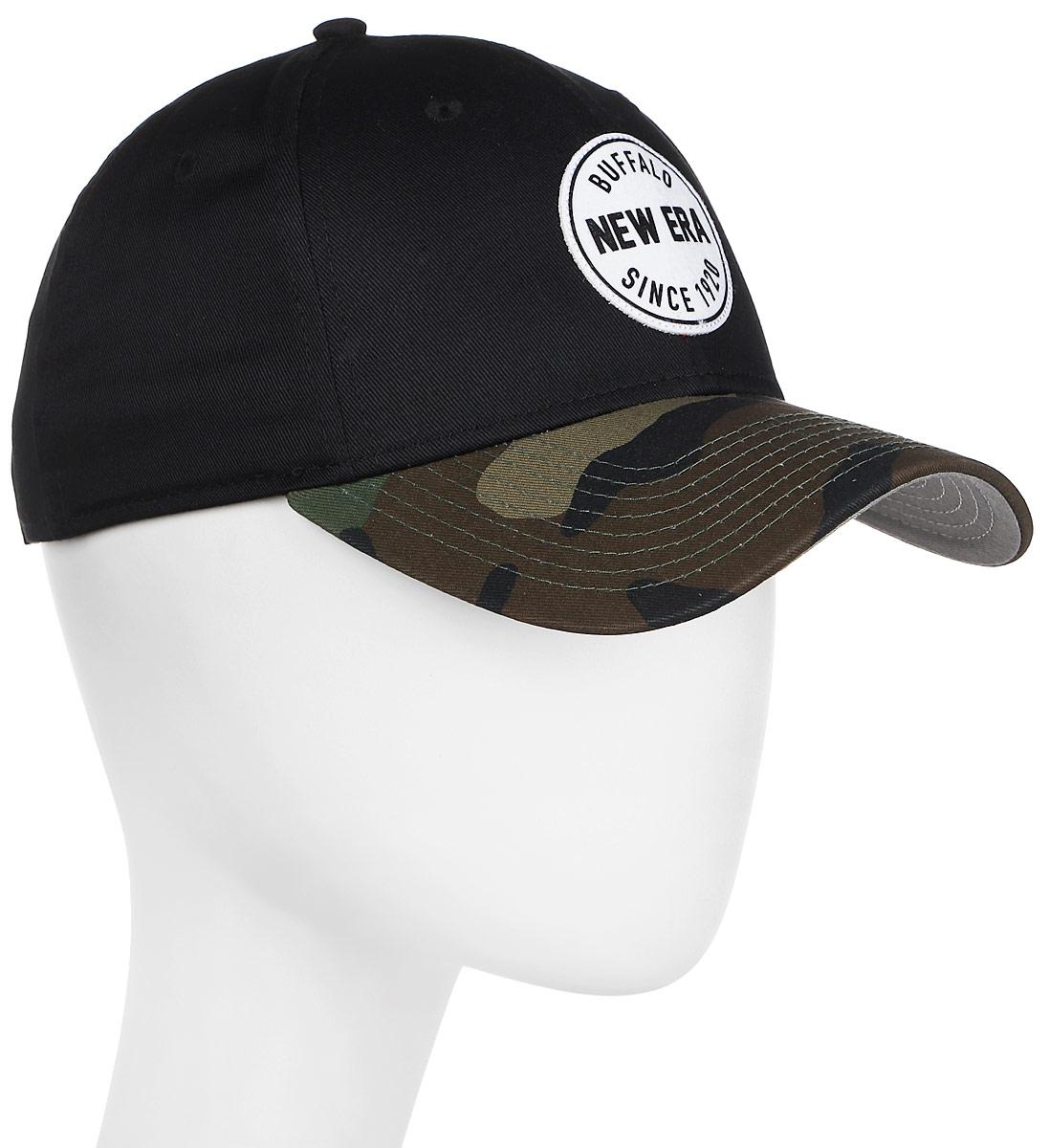 Бейсболка New Era 111Entry 9Forty, цвет: черный, хаки. 11448462-BLK. Размер универсальный11448462-BLKРегулируемая бейсболка модели 9Forty c патчем New Era и логотипом New Era. Застёжка выполнена из липучки.