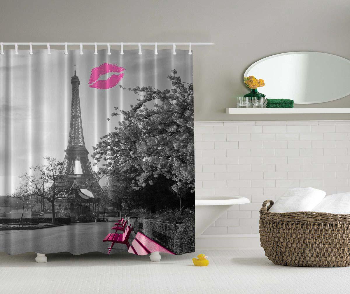 Штора для ванной комнаты Magic Lady Поцелуй в Париже, 180 х 200 см штора для ванной комнаты magic lady дерево в волшебном лесу цвет коричневый оранжевый 180 х 200 см page 4