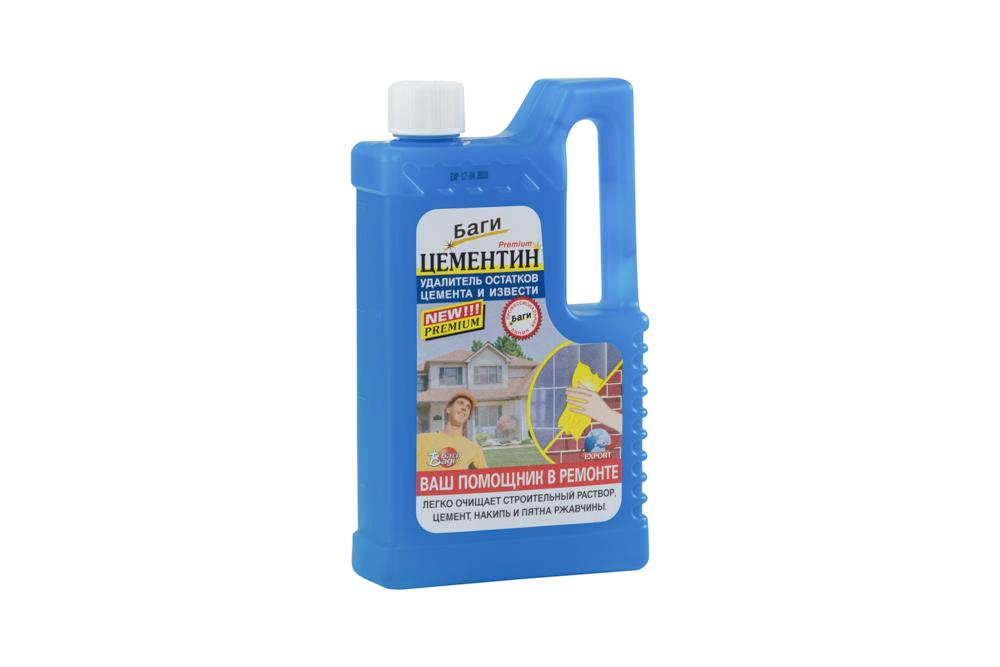 Цементин предназначен для удаления остатков цемента и извести.  Легко и быстро удаляет после ремонтных   работ остатки цемента, строительного раствора, известковый налет и ржавчину с керамических плит, раковин,   ванн и других поверхностей, не чувствительных к кислоте.  Способ применения: Для удаления остатков цемента и извести средство разбавить водой 1:5, для очень сильных   загрязнений 1:3. Равномерно нанести средство на предназначенную для очистки поверхность и протереть губкой.   Через несколько минут тщательно промыть водой. Перед применением проверить стойкость поверхности к   средству. Не применять на чувствительных к кислотам поверхностях (мрамор и т.п.). При использовании средства   надевать резиновые перчатки. Не давать средству засохнуть на обрабатываемом участке до окончания чистки.    Меры предосторожности: Избегать контакта с кожей, глазами и полостью рта - может привести к раздражению.   Препарат не годится для употребления в пищу. Хранить в недосягаемом для детей месте. В случае попадания в   глаза, немедленно промыть проточной водой. Если вы проглотили средство, необходимо выпить воды и   обратиться к врачу. Характеристики:   Объем: 500 мл.  Размер бутылки: 13 см х 5 см х 23 см.  Размер упаковки: 13 см х 5 см х   23 см.  Состав: соляная кислота, активные вещества, дистилированная вода.    Уважаемые клиенты!  Обращаем ваше внимание на возможные изменения в дизайне упаковки. Качественные характеристики товара   остаются неизменными. Поставка осуществляется в зависимости от наличия на складе.      Как выбрать качественную бытовую химию, безопасную для природы и людей. Статья OZON Гид