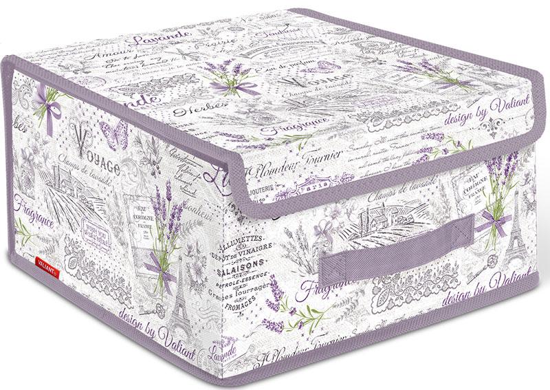 Коробка для хранения Valiant Lavande, 28 х 30 х 16 смВЛ-00000212Короб стеллажный с крышкой, малый, оформленный в стиле Lavande.