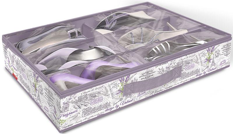 Кофр для хранения Valiant Lavande, 6 секций, 60 х 40 х 12 смВЛ-00000228Вместительный кофр Valiant Lavande изготовлен из высококачественного прочного нетканого материала и предназначен для долговременного хранения обуви. Изделие имеет 6 секций. Кофр закрывается крышкой на застежку-молнию. Для удобства в обращении имеется ручка. Кофр защитит вашу обувь от повреждений, пыли, влаги и загрязнений во время хранения и транспортировки. Он пропускает воздух и отталкивает воду.Изделие гармонично смотрится в любом интерьере, привнося в него изысканность и дизайнерскую изюминку. Кофр - это новый взгляд на систему хранения - теперь хранить вещи не только удобно, но и красиво.