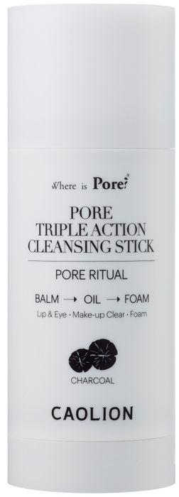 Caolion Очищающий стик с древесным углем Pore Triple Action Cleansing Stick (Charcoal), 50 г40150Уникальное средство для глубокого, но деликатного очищения кожи в формате 3 в 1: стик, гидрофильное масло и пенка для умывания. Подходит для снятия макияжа с глаз и губ. Для всех типов кожи.