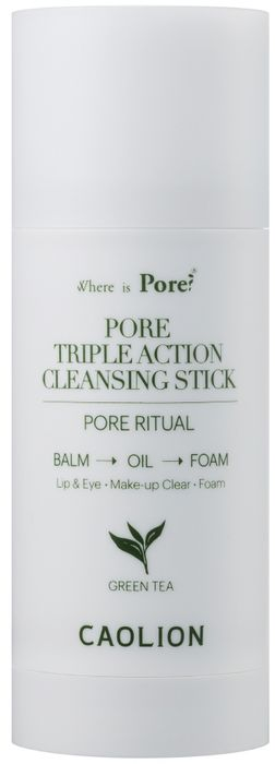 Caolion Очищающий стик 3 в 1 с зеленым чаем Pore Triple Action Cleansing Stick (Green Tea), 50 г маска caolion premium blackhead o2 bubble pore pack объем 50 г