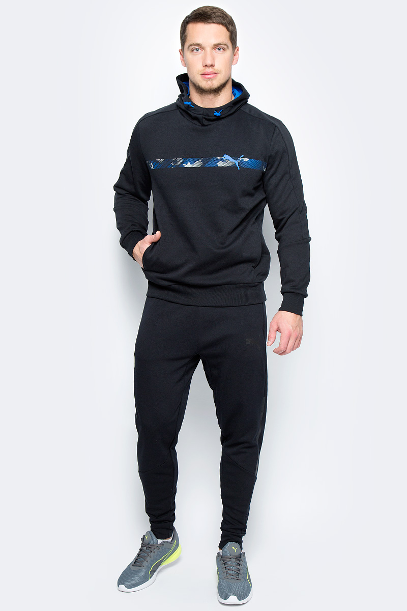 Толстовка мужская Puma Active Hero Line Hoody FL, цвет: черный. 59424001. Размер XL (50/52) толстовка женская puma urban sports fz hoody цвет темно зеленый 59404414 размер m 44 46