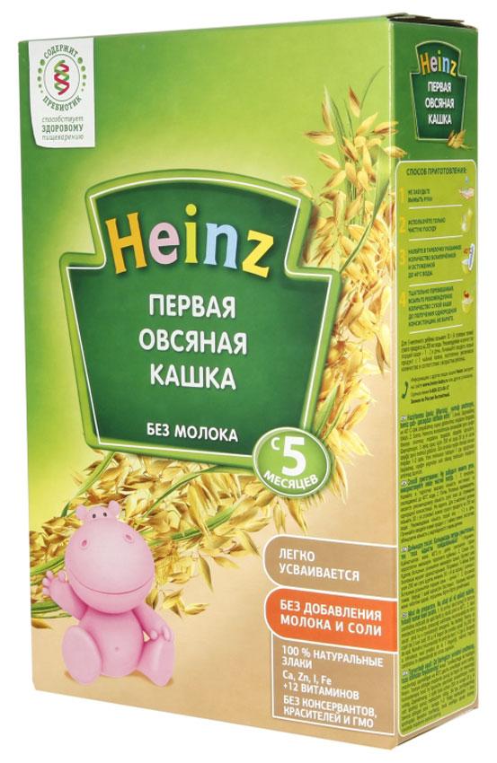 Heinz каша Первая овсяная, с 5 месяцев, 200 г79000268Для 5-месячного ребёнка возьмите 30 г (4 столовые ложки) сухого продукта на 140 мл воды. Налейте в тарелочку указанное количество вскипячённой и остуженной до 40°С воды. Тщательно перемешивая, всыпьте рекомендуемое количество сухой каши до получения однородной консистенции. Не варите.Продукт содержит глютен и может содержать незначительное количество молока.