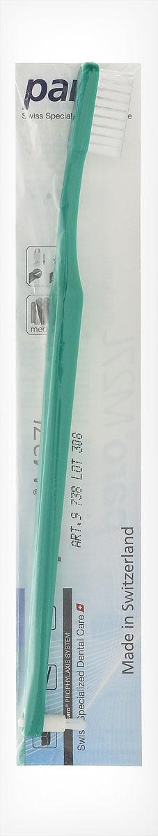 Paro Зубная щетка M27L, с монопучком на конце, цвет: темно-зеленый738_темно-зеленыйЗубная щетка Paro M27L с щетиной средней жесткости с монопучковой насадкой. Предназначена для очистки зубов, межзубных промежутков и ортодонтических конструкций. Щетинки имеют закругленную форму, обеспечивая уход за зубами. деснами и предотвращая повреждения.