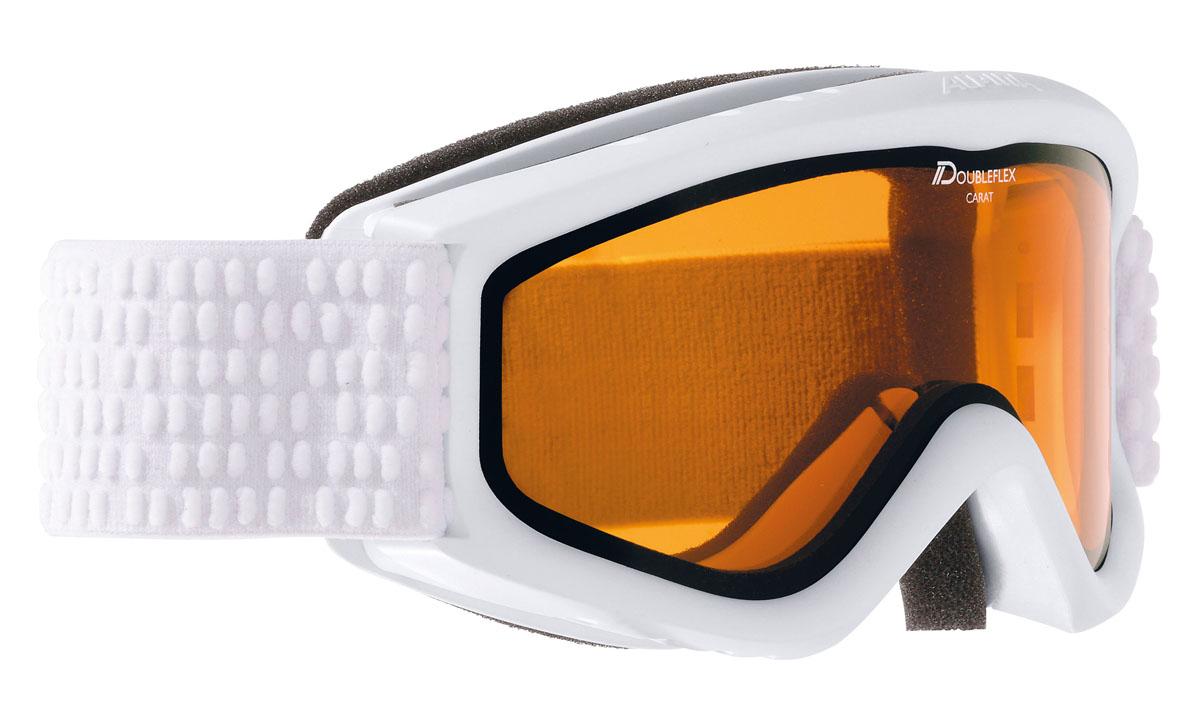 Очки горнолыжные Alpina Carat DH, цвет: белый, серыйA7026116Детская горнолыжная маска Alpina: -двойные контрастные линзы; -100% защита от УФ А-В-С до 400 нм;-антифог покрытие снижает риск запотевания маски;-по контуру оправы расположены вентиляционные порты, улучшающие циркуляцию воздуха и снижающие риск запотевания маски; -категория защиты линз: 2 категория, для использования в условиях переменной облачности и пасмурной погоды без осадков.